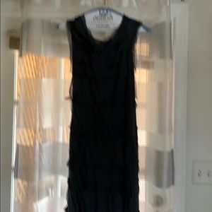 Shabby chic charcoal long tiered dress.